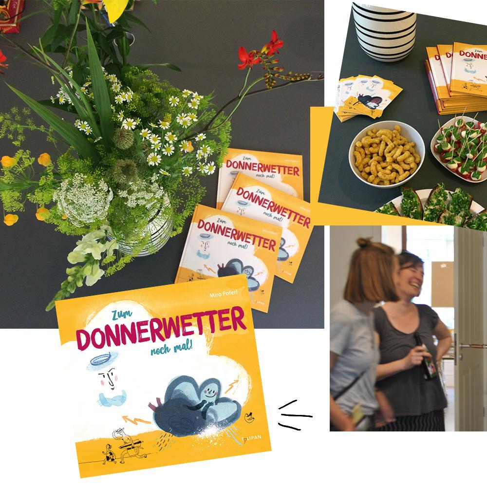 """Fotocollage Buchparty von dem Bilderbuch """"Zum Donnerwetter noch mal!"""""""