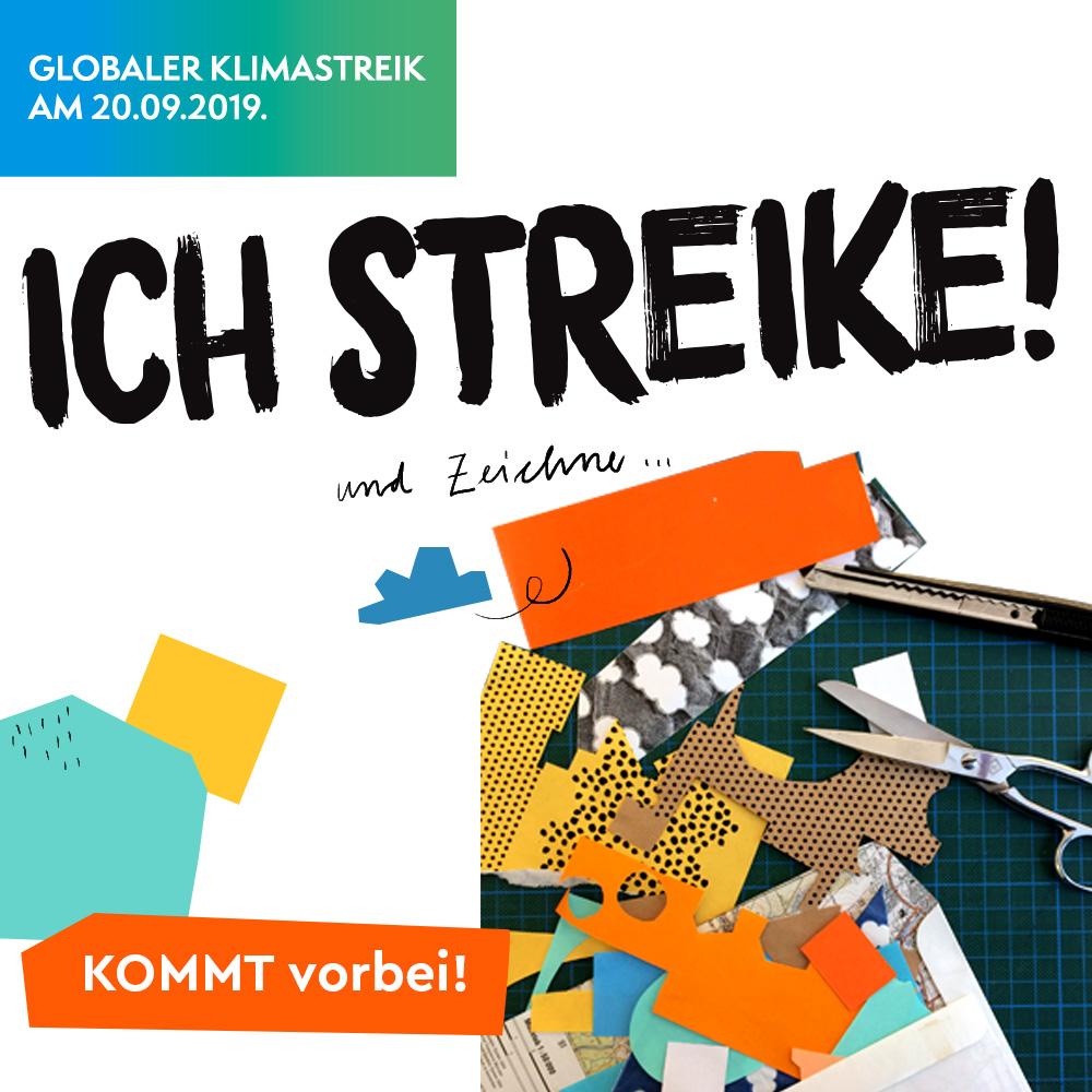 """Collage mit Schriftzug """"Ich streike!"""""""