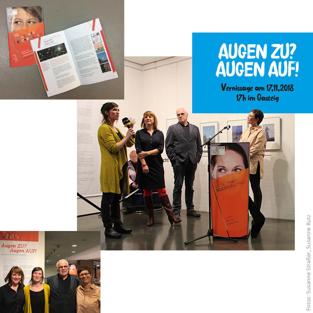 Fotocollage Ausstellungseröffnung Die Nacht im Kinderbuch