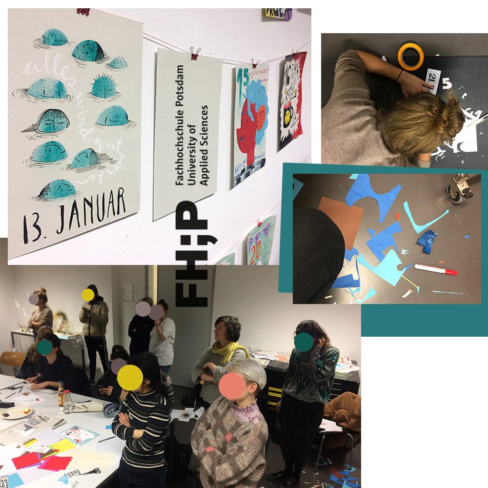 Callage aus Fotos von Workshop mit Studierendenn