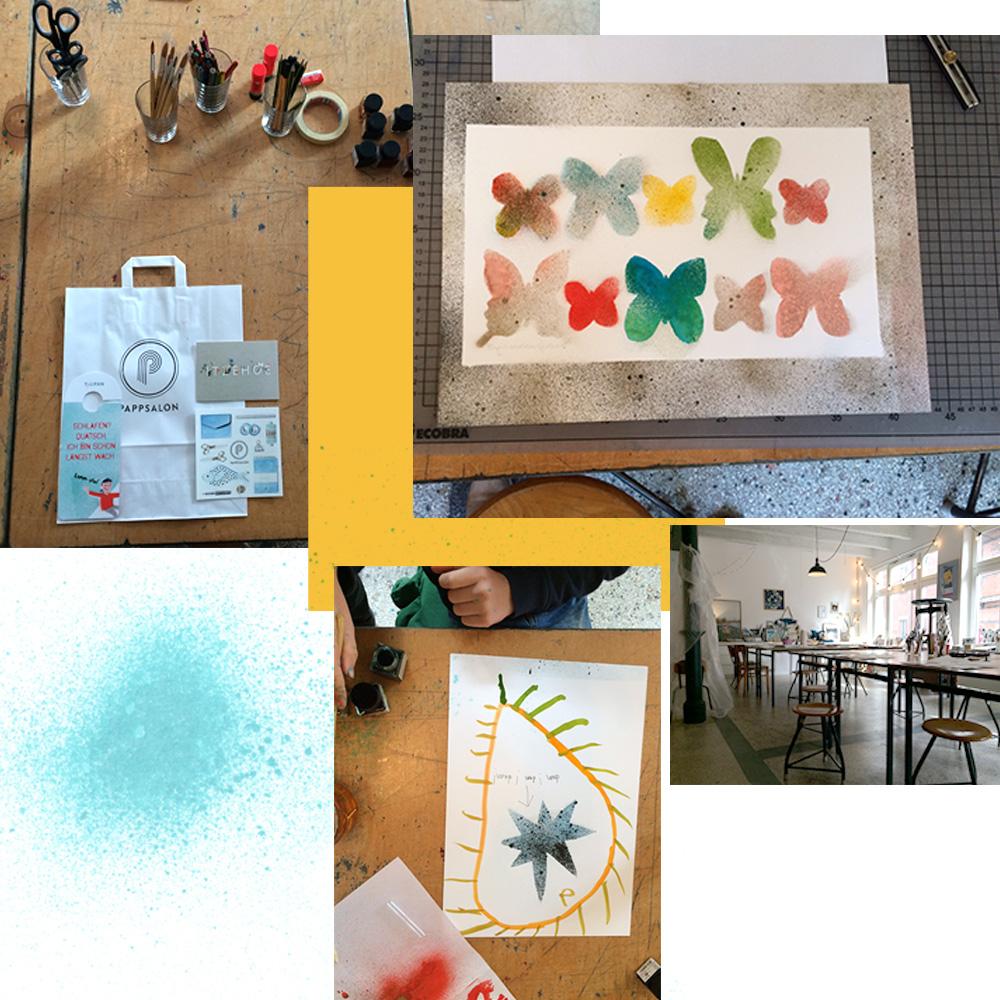 Fotocollage Workshop für Illustration mit Sprühtechnik