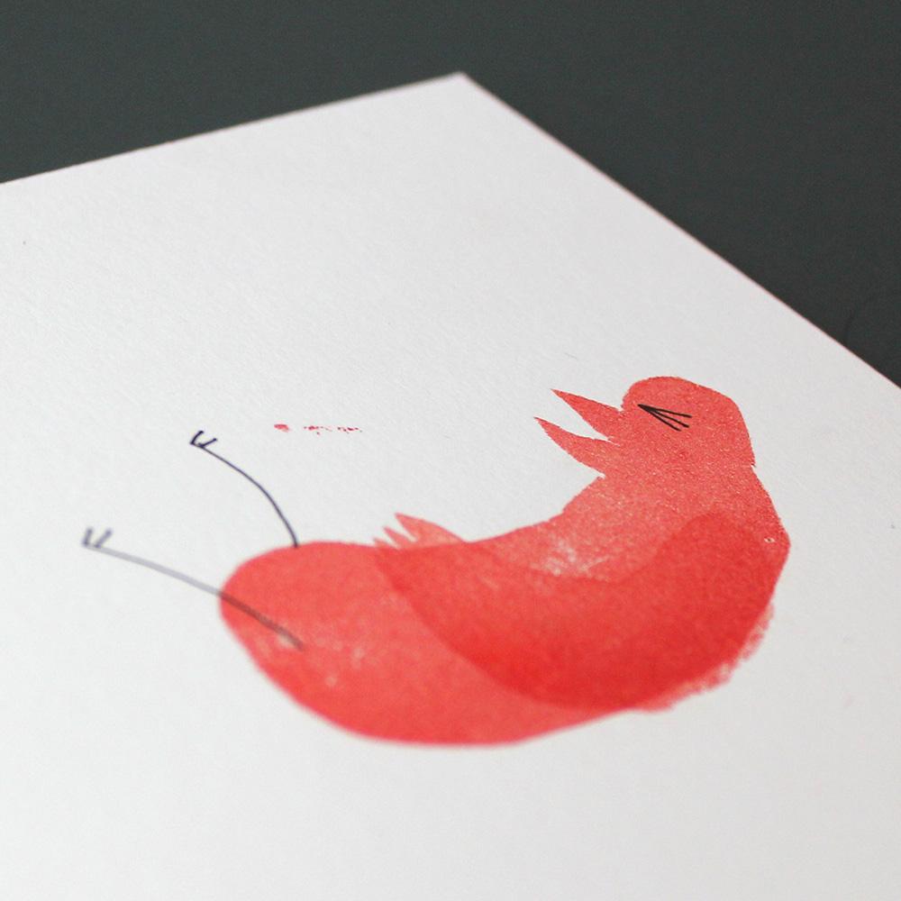"""Detail Bilderbuch """"Ach, diese Menschen!"""":  Vogel gestempelt"""
