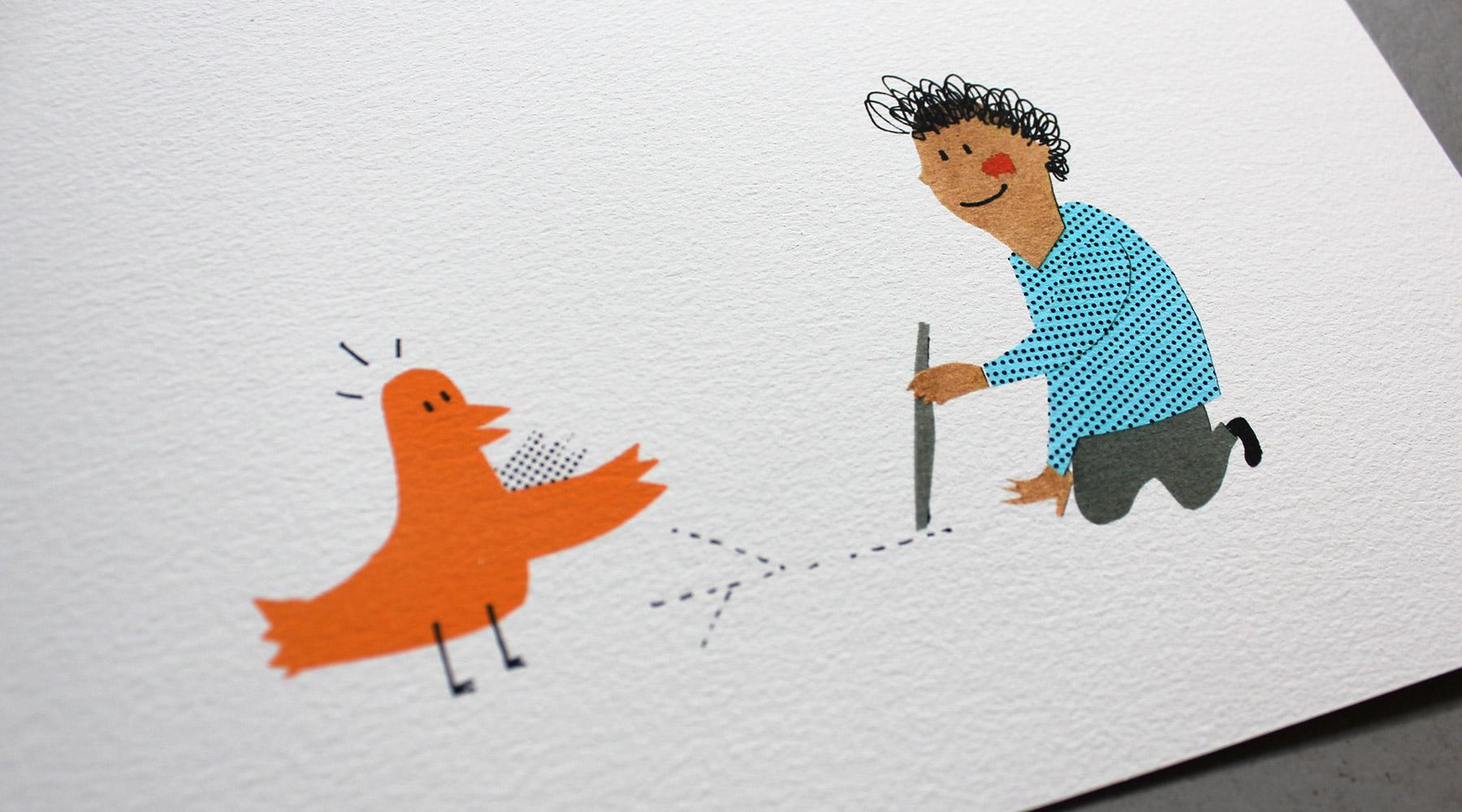 """Detail Bilderbuch """"Ach, diese Menschen!"""": Kind und Vogel"""