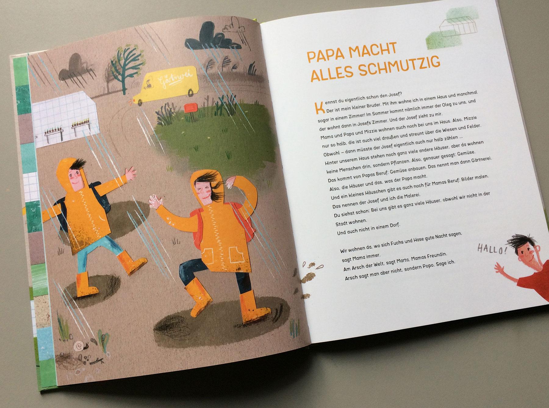 """Doppelseite des Buchs """"Radieschenmaus und Kuschelgurke"""" Kapitel """"Papa macht alles schmutzig"""""""