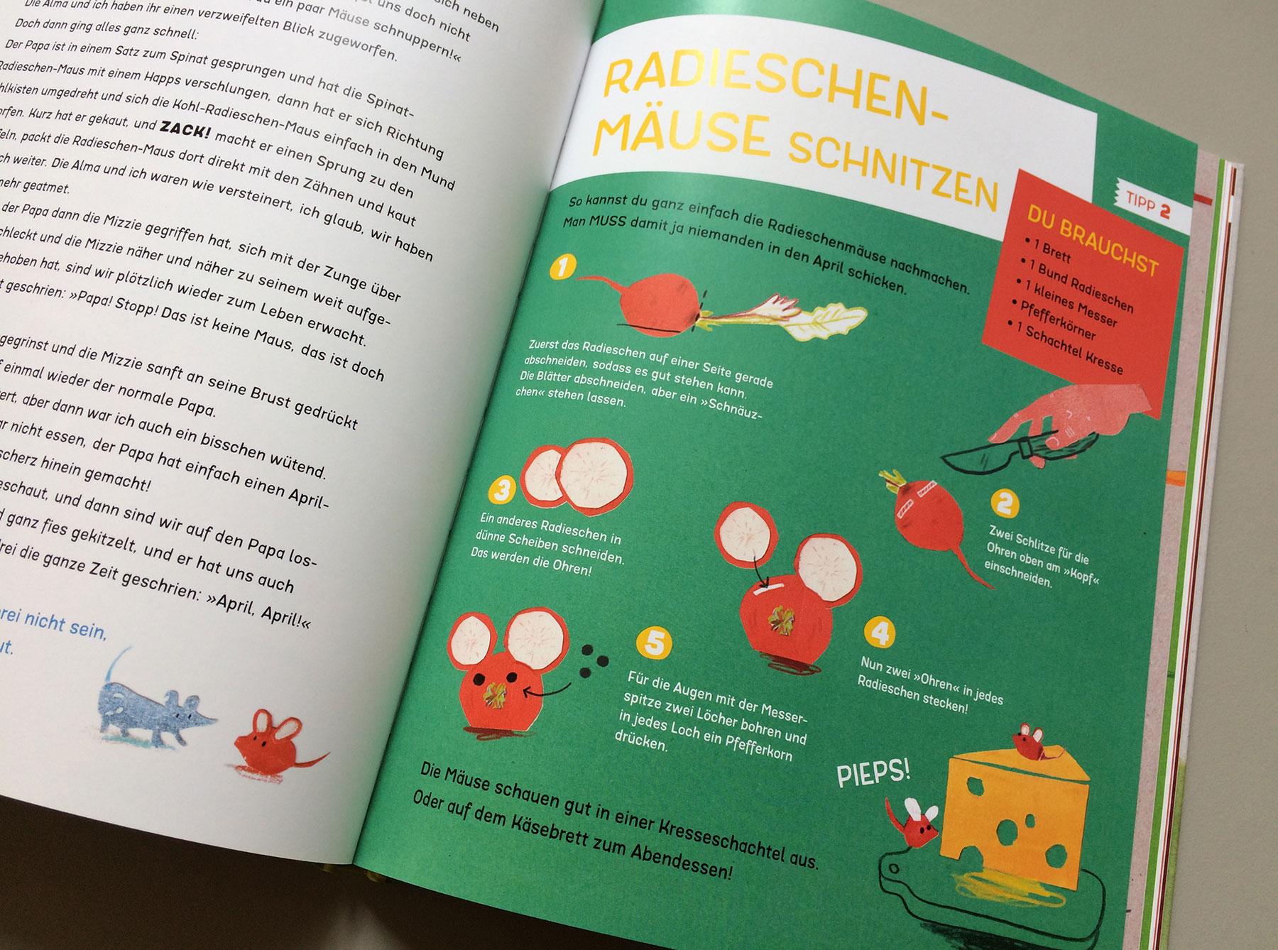 """Detail des Buchs """"Radieschenmaus und Kuschelgurke"""" Anleitung zum Radieschenmaus schnitzen"""