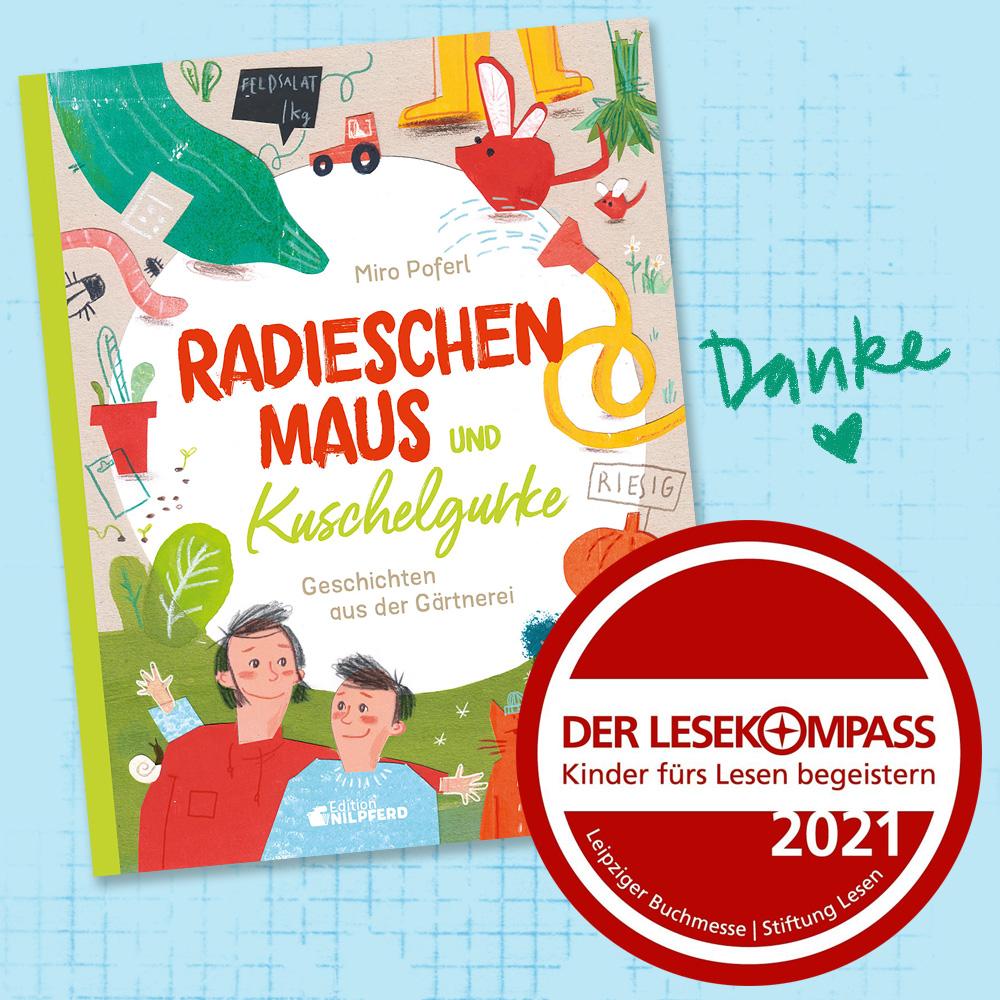"""Auszeichnung """"Lesekompass"""" für das Bilderbuch """"Radieschenmaus und Kuschelgurke"""""""