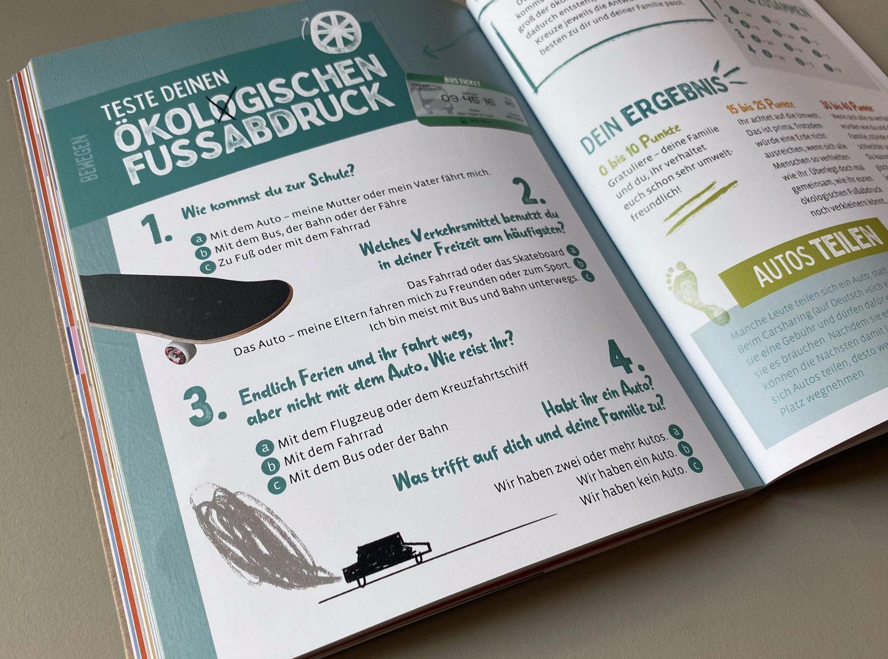 """Doppelseite """"Mein ökologischer Fußabdruck"""" Test Mobilität"""