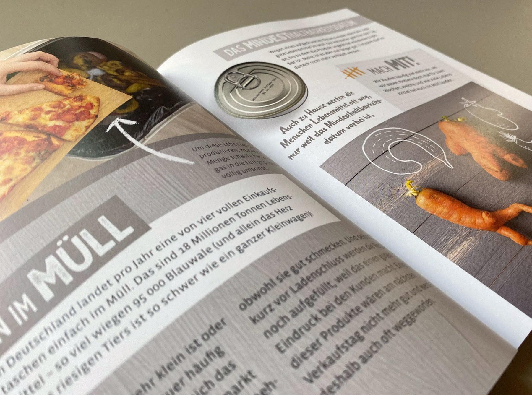"""Doppelseite """"Mein ökologischer Fußabdruck"""" Thema Lebensmittel im Müll"""